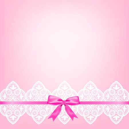 white bow: White lace border with a bow on a pink background