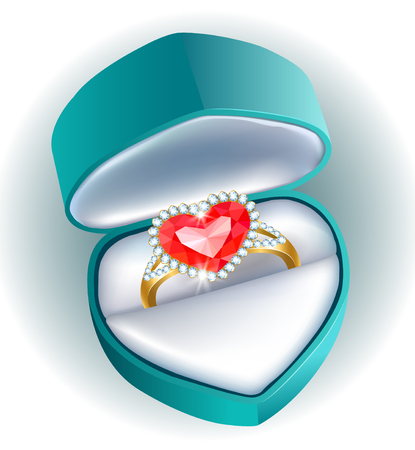 jewel box: Gift box with a ring with a ruby heart and diamonds Illustration
