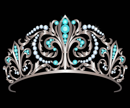 diadem: Silver diadem decorated with diamonds and aquamarines