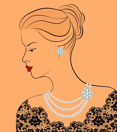 perlas: Esquema bosquejo de la mujer elegante con joyería de la perla del fondo ocre