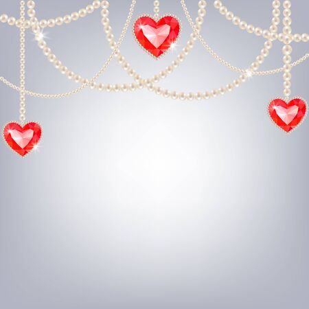 ruby: Dangling pearl necklace with ruby hearts on a gray background Illustration