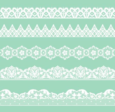 simple border: Set of white lace borders on green background Illustration