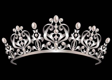 corona de reina: Diadema de plata con perlas en el fondo negro Vectores