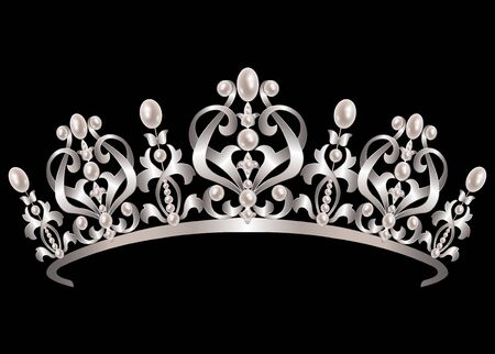 queen of diamonds: Silver diadem with pearls on black background