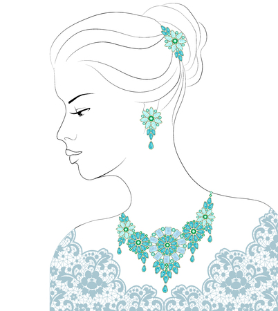 earrings: Drawing of a woman with aquamarine necklace and earrings