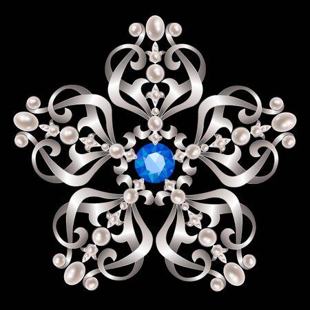 zafiro: broche de plata de la vendimia con perlas y zafiros Vectores