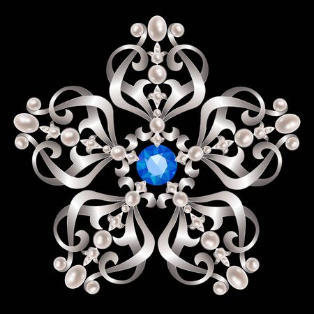 brooch: Silver vintage brooch with pearl and sapphire