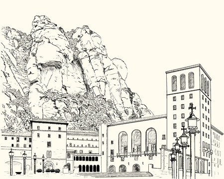 monastery: Drawing of Montserrat Monastery in the mountains in Spain Illustration