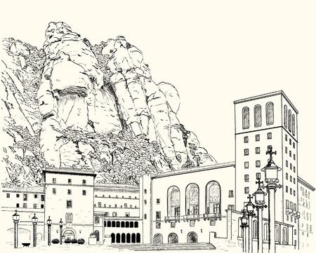 Tekening van het klooster van Montserrat in de bergen in Spanje