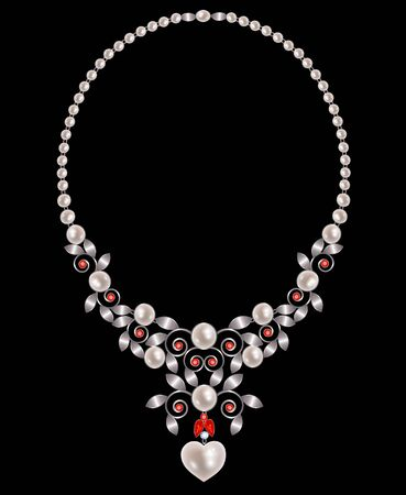 pearl necklace: Pearl necklace with silver leaves and rubies