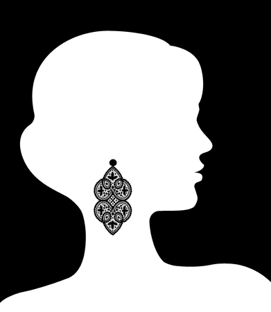 earring: Silhouette of a female head with a lace earring Illustration