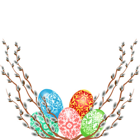 willow: Easter card with eggs and willow branches