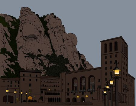 architecture drawing: Illustration Montserrat Monastery in the mountains in Spain Illustration