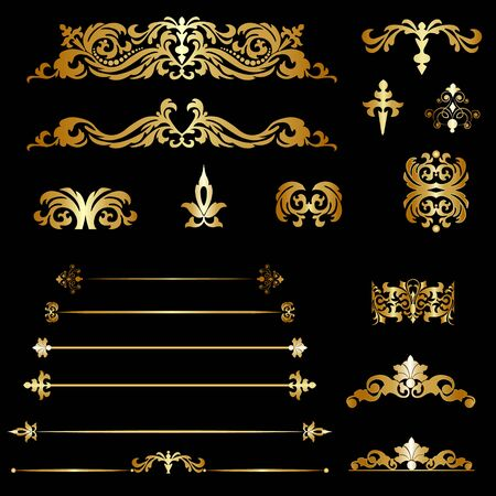 gold ornaments: Set gold decorative elements on a black background