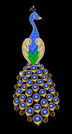 brooch: Brooch in the form of a peacock with gems