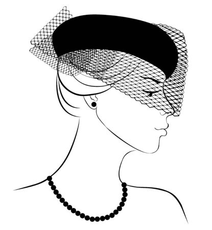 veil: Woman in a hat with a veil with beads
