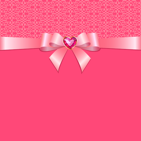 ribbon background: Bow with ruby heart on a pink background Illustration