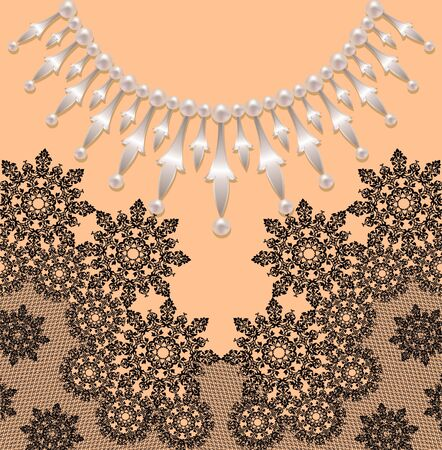 silver jewellery: Jewellery in the form of silver pendants with pearls with black lace