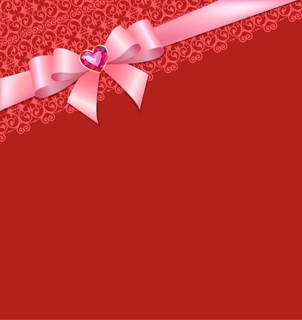 ruby: Greeting card with bow and ruby heart on red Illustration