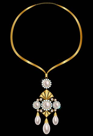 gold necklace: Gold necklace with pearls and diamonds on a black background