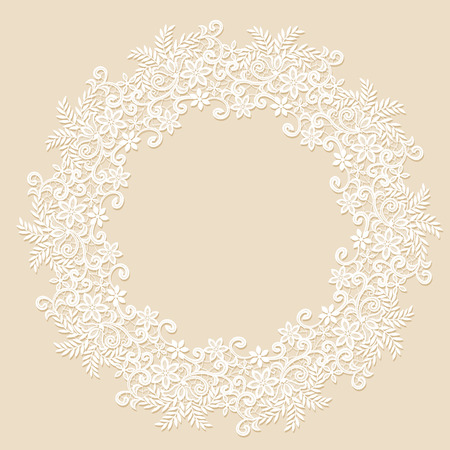 elegant white: Elegant white lace frame with shadow on a beige background
