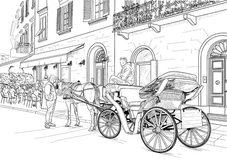 Drawing horse carriages on the streets of the Italian city
