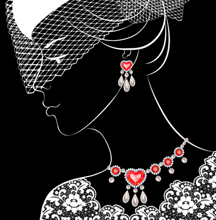 earrings: Fashion illustration of woman with pearls and rubies necklace and earrings