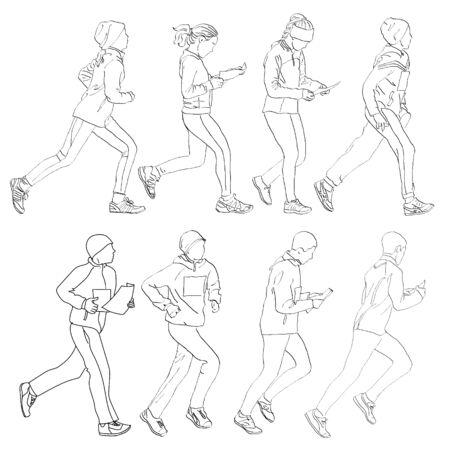 orienteering: Drawing running people in the competition in orienteering