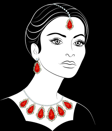 earrings: Drawing of a girl with a necklace and earrings Illustration
