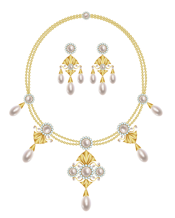 diamond necklace: Gold necklace with pearl and diamond pendants and earrings