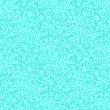Turquoise lace with floral pattern on a green background Illustration