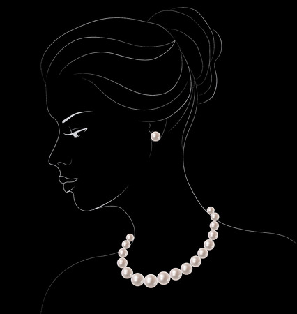 black woman: Outline sketch of elegant woman with pearl jewelry on black background