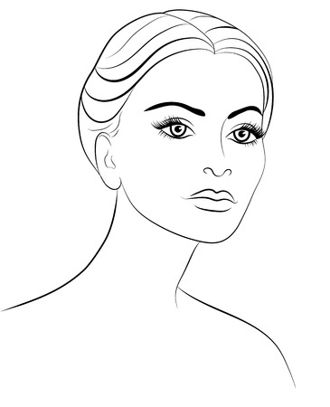 portrait: Contour drawing of a woman on a white background Illustration