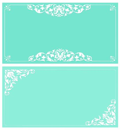 Vintage card with white frame on turquoise background
