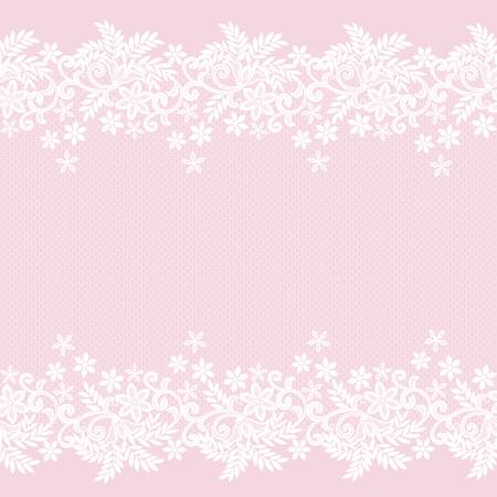Biała koronka vintage wzór na różowym tle