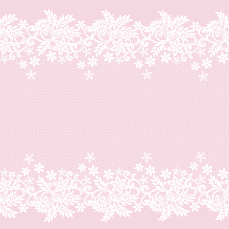 White lace vintage pattern on pink background Çizim
