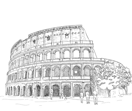 pencil drawings: vector - hand draw Roman colosseum isolated on background