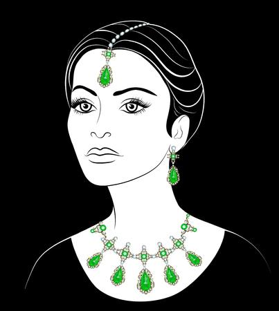 femme dessin: Dessin d'une femme arabe avec un collier et boucles d'oreilles. Fashion illustration