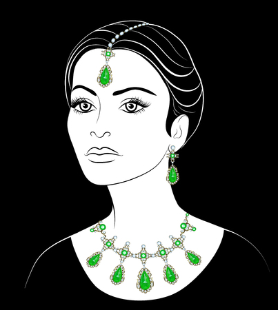 beautiful face: Drawing of a arab woman with a necklace and earrings. Fashion illustration Illustration