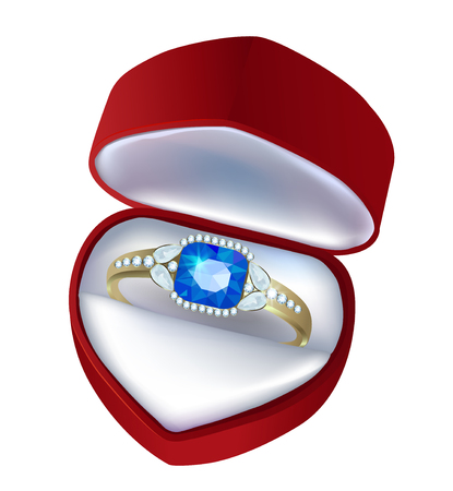 jewel box: Gift box with a ring with a sapphire and diamonds Illustration