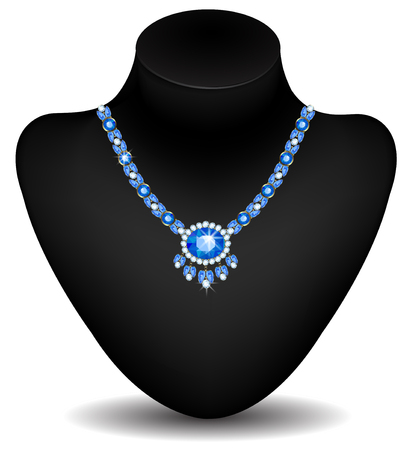 sapphires: necklace with diamonds and sapphires on a dummy