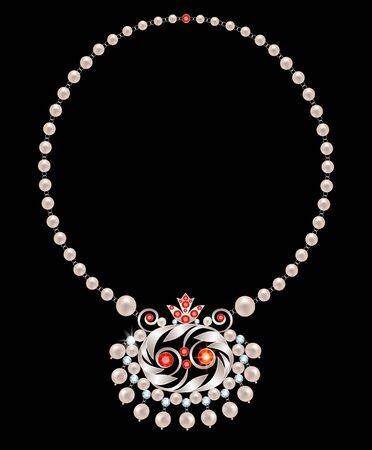 pearl necklace: Pearl necklace with a pendant of pearls, rubies and diamonds