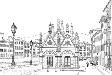 maria: Sketch of the Church of Santa Maria della Spina on the river Arno in Pisa Illustration