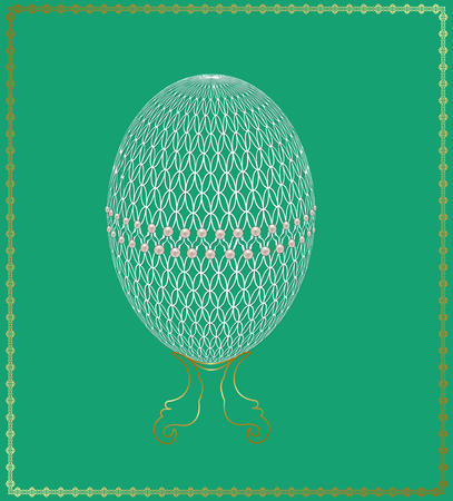 openwork: Openwork Easter egg decorated with pearls in a gold frame