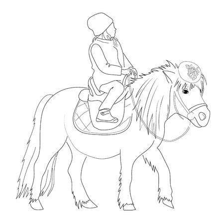 pony girl: Sketch of a girl sitting on a pony