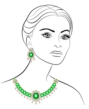 earrings: Drawing women necklace of emeralds and diamonds earrings Illustration