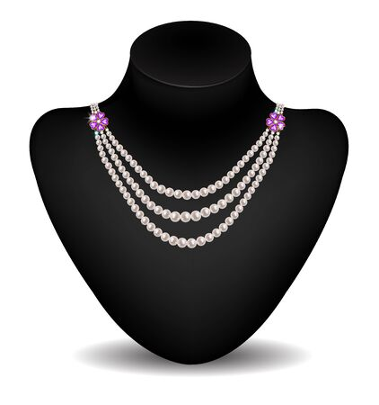 diamond jewelry: Pearl necklace with amethyst on black dummy