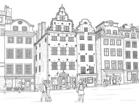 Sketch Stortorget square in Gamla Stan in Stockholm. Sweden