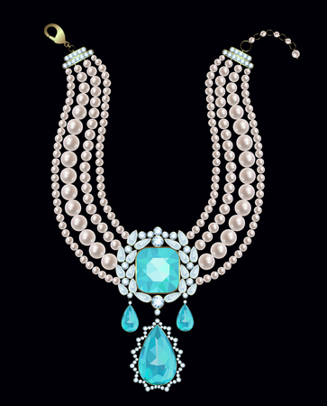 Pearl necklace with a pendant decorated with diamonds and aquamarines