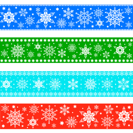 Set of colorful Christmas ribbon with ornament of snowflakes